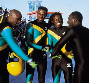 Members of the cast of 'Cool Runnings', the popular Disney Film about the exploits of the Jamaica bobsled team at the Winter Olympics in 1988