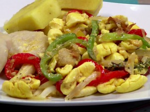 Ackee and Saltfish, Ackee and saltfish, Jamaica's national dish, is one of the popular dishes on menu at Half Way Tree.