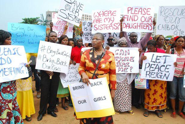 Women in Nigeria's Capital, Abuja protest abducted girls under the banner #BringBackOurGirls. Photo Credit - Newswirengr.com